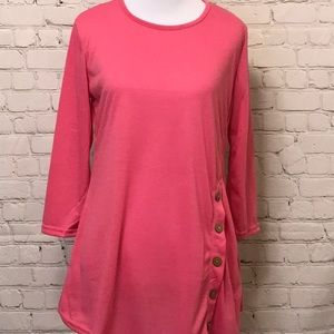 Button Accent Pink Top